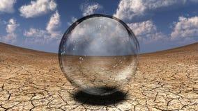 Crystal Sphere en desierto Imagenes de archivo