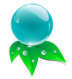 Crystal sphere with leaves, ecology icon Royalty Free Stock Photography