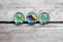 Crystal Spheres on Wood Stock Images