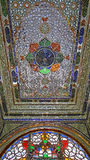 Crystal and Stained-Glass Ceiling inside a Persian House. Ceiling decorated by Crystal and Stained-Glass in an Ancient Persian Pattern/Style inside a House in Stock Photo