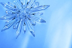 Crystal star, snowflake. Vintage crystal chandelier prisms in star, snowflake pattern Royalty Free Stock Photography