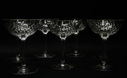 Crystal stemware. A set of crystal stemware isolated on black Royalty Free Stock Images
