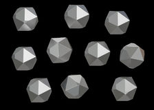 Crystal Stone gem macro mineral collection set of 10 units, quartz on black background. 3d illustration.  Stock Images
