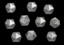 Crystal Stone gem macro mineral collection set of 10 units, quartz on black background. 3d illustration.  Stock Photos