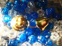 Crystal. Stone  and golden  bell Royalty Free Stock Images