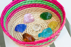 Crystal stone in green outdoor. Royalty Free Stock Photos