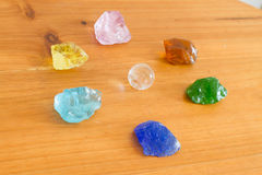 Crystal stone in green outdoor. Stock Photo