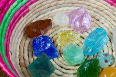 Crystal stone in green outdoor. Royalty Free Stock Image