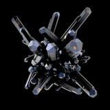 Crystal Stone makromineral, kvarts på svart bakgrund med textur som är full av stjärnor illustration 3d Arkivbild