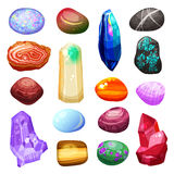 Crystal Stone Rocks Icons Set illustration de vecteur