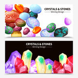Crystal Stones And Rocks Banners stock illustratie