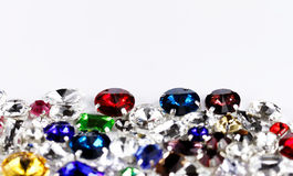 Crystal strasses. Large crystal strasses on a white background - macro photo Stock Photo