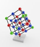 Crystal structure. The chemistry crystal structure of molecule. (colored atoms Royalty Free Stock Photography