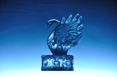 Crystal Swan. A Crystal Swan on the blue background Royalty Free Stock Photo