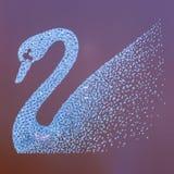Elegant crystal Swarovski swan logo stock images