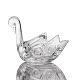 Crystal swan isolated white backround. Crystal swan glass interior isolated royalty free stock images
