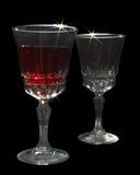 Crystal tall wine glasses Royalty Free Stock Images