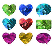 Crystal texture of heart and chat bubble Royalty Free Stock Image