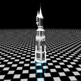 Crystal tower. A crystal tower over a modern floor: a 3D graphic work Royalty Free Stock Photos