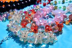 Crystal transarent jewellery macro detail Royalty Free Stock Photos