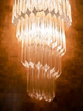 Crystal wall lamp. Wall lamp decorated with crystal on the wooden wall Stock Photo