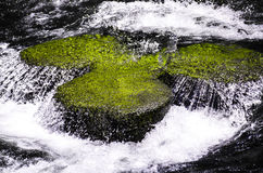 Crystal waters over a Green Rock Stock Photography