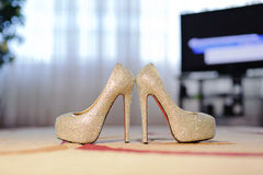 Crystal Wedding Shoes Stock Photo