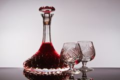 Crystal wine decanter Stock Image