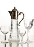 Crystal wine glasses and decanter. Royalty Free Stock Images
