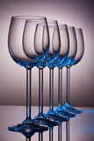 Crystal wine glasses in a row Stock Image