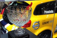 Crystal winner cup with a sports car Stock Photography