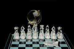 Crystal world chess globe Royalty Free Stock Photography