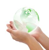 Crystal world in hand. Concept photography -- world in hand Stock Images