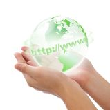Crystal world in hand. Concept photography -- world in hand -- globel internet Royalty Free Stock Photo