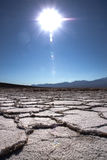 Crystalised dry salt lake bed in California Stock Photos