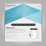 Crystalline Blue Header Web template. Stock Photo