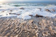 Crystalline salt on beach of Dead Sea - 2 Royalty Free Stock Photo