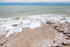 Crystalline salt on beach of Dead Sea Stock Image