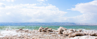 Crystalline salt on beach of Dead Sea Royalty Free Stock Images