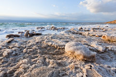 Crystalline salt on beach of Dead Sea- 3 Stock Photography