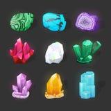 Crystalline stone or gem. Precious gemstone. Magic crystals and semiprecious stones vector set. Game glowing crystals icons. Magic crystals and semiprecious stock illustration