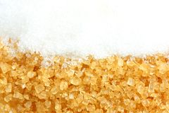 Crystalline sugar and granulated sugar Royalty Free Stock Image
