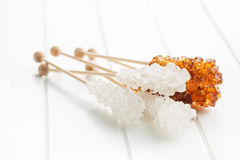 Crystalline sugar on wooden stick. Stock Photography