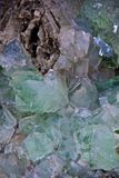 Crystals. Green and blue crystals on a rock Royalty Free Stock Image