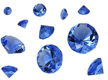 Crystals. Blue crystals collage isolated on white royalty free stock photos
