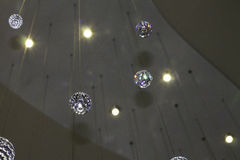 Crystals from Above. A look up at crystal balls hanging from the roof Royalty Free Stock Images