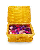 Crystals in a basket, isolated. Semi-precious stones, crystals in the basket, isolated Stock Photos