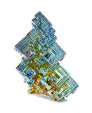 Crystals of bismuth. Skeletal crystals of bismuth with tarnish on a white background Stock Photos