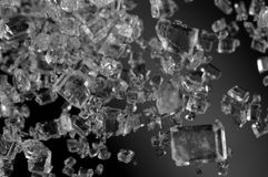 Crystals , black-and-white photo. Extreme closeup. Royalty Free Stock Images