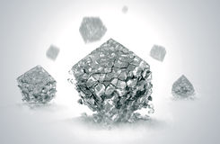 Crystals broken. Crystals  particles of the cube is divided into fragments Royalty Free Stock Photo